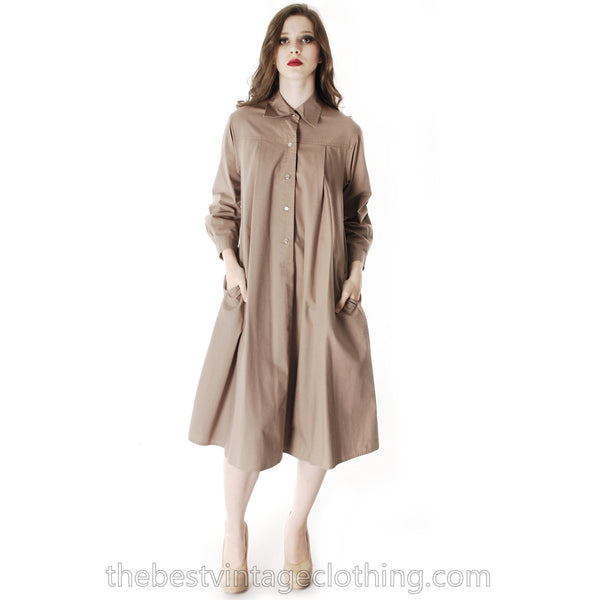 Vintage Vuokko Cotton Shirt Dress Tent Dress Taupe S Coat Dress Neutral - The Best Vintage Clothing  - 8