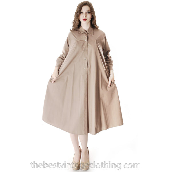 Vintage Vuokko Cotton Shirt Dress Tent Dress Taupe S Coat Dress Neutral - The Best Vintage Clothing  - 9