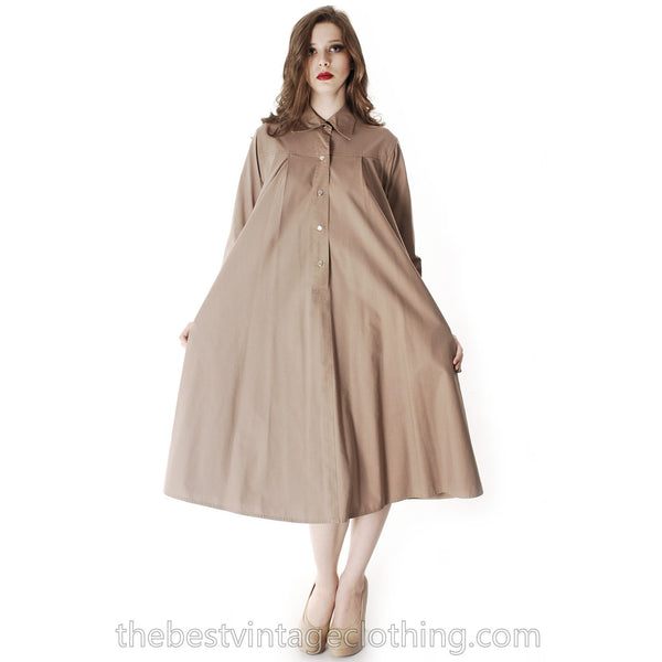 Vintage Vuokko Cotton Shirt Dress Tent Dress Taupe S Coat Dress Neutral - The Best Vintage Clothing  - 10