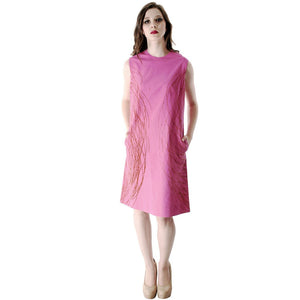 Vintage Vuokko Nurmesniemi Pyörre A-Line Pink Sheath Dress Cotton 1970s Bust 38 - The Best Vintage Clothing  - 1