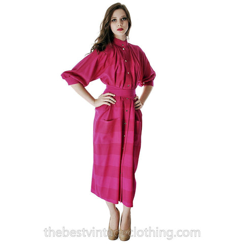 Vintage Vuokko Nurmesniemi Finland Fuchsia  Finest Wool Voile Tent Coat Dress 1970s XS-S - The Best Vintage Clothing  - 1