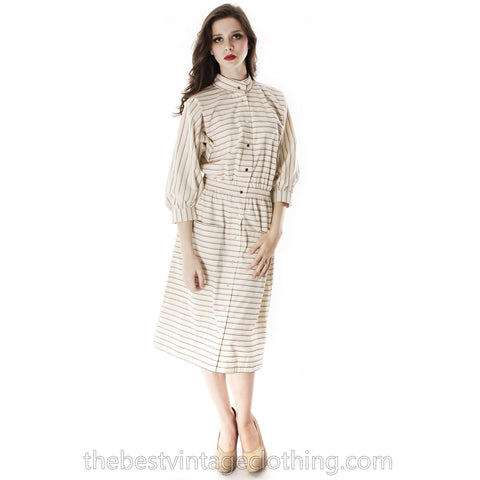 Vintage 1970s Vuokko Designer Stripes Print A Line Shirt Dress Coat Cotton S-M