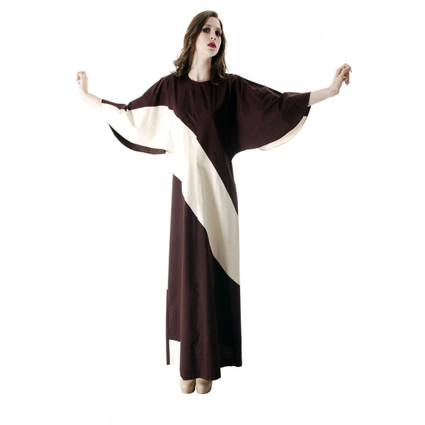 Vintage 1970s Vuokko Designer Angel Sleeve Tent Dress Brown& Ivory  Diagonal Stripes 44 Large - The Best Vintage Clothing  - 2