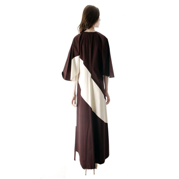 Vintage 1970s Vuokko Designer Angel Sleeve Tent Dress Brown& Ivory  Diagonal Stripes 44 Large - The Best Vintage Clothing  - 4