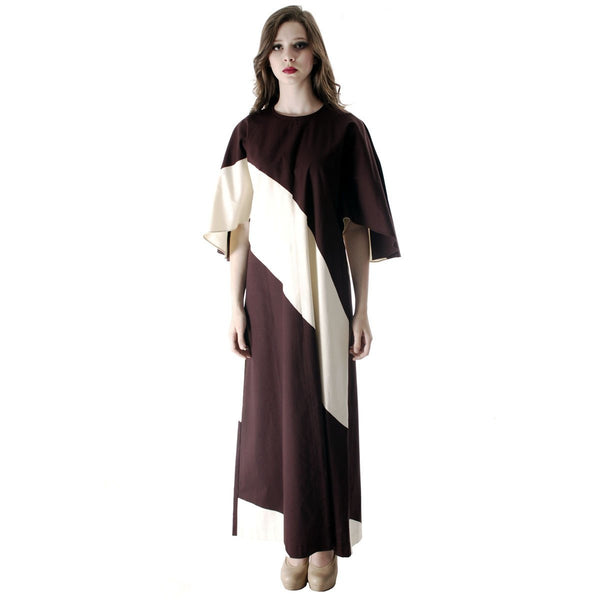Vintage 1970s Vuokko Designer Angel Sleeve Tent Dress Brown& Ivory  Diagonal Stripes 44 Large - The Best Vintage Clothing  - 7