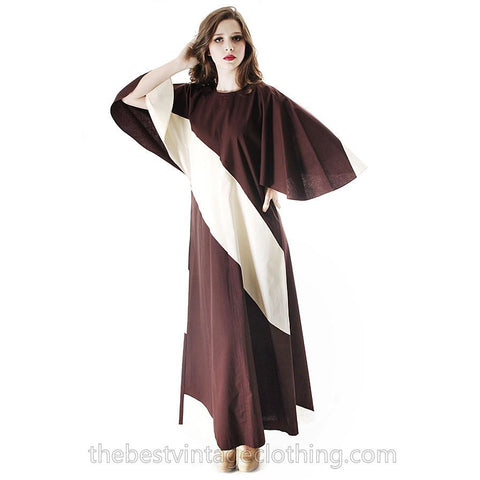 Vintage 1970s Vuokko Designer Angel Sleeve Tent Dress Brown & Ivory METSÄ  Diagonal Stripes S M