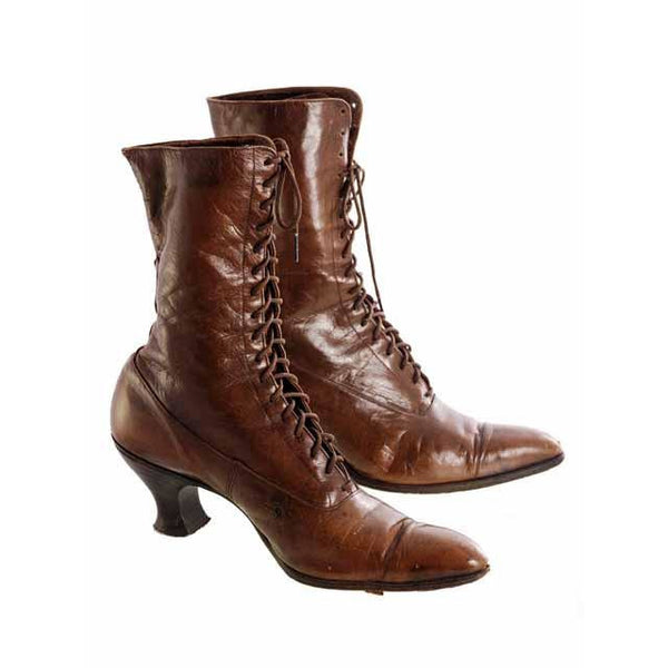 Vintage  Brown Leather Ladies High Top Laceup Boots Spool Heel S 7-7.5 Victorian - The Best Vintage Clothing  - 1
