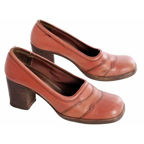 Vintage Burnt Orange Leather Heels Chunky Shoes 1970s Womens 6.5