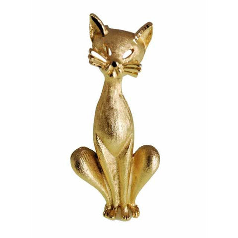 Vintage Gold Tone Cool Siamese Cat Brooch BSK 1960s