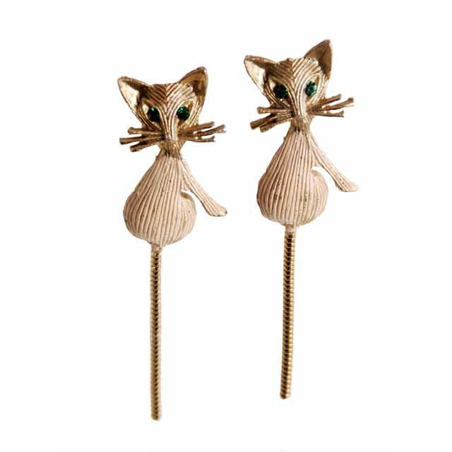 Vintage Gold Tone Cool Kitties Cat Brooches Scatter Pins 1960s Green Eyes - The Best Vintage Clothing  - 1