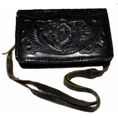 Vintage Purse Hand Tooled Black Leather  W/ Guitar 1970S VLV Retro Rockabilly - The Best Vintage Clothing  - 6