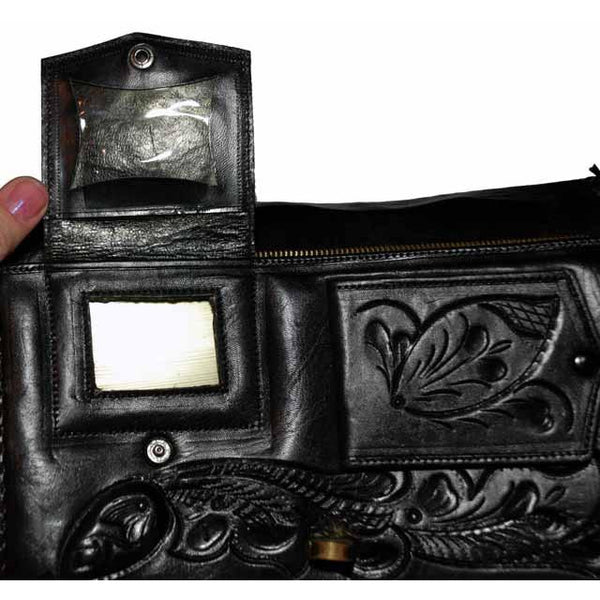 Vintage Purse Hand Tooled Black Leather  W/ Guitar 1970S VLV Retro Rockabilly - The Best Vintage Clothing  - 5