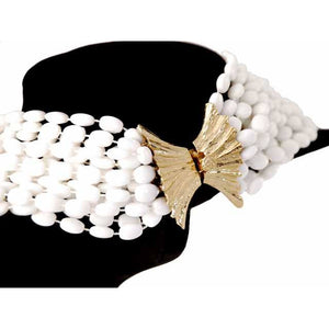 Vintage  Estate Jewelry Necklace Choker White-White Beads Vogue 1950S - The Best Vintage Clothing  - 1