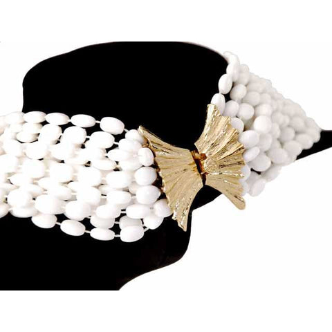 Vintage  Estate Jewelry Necklace Choker White-White Beads Vogue 1950S