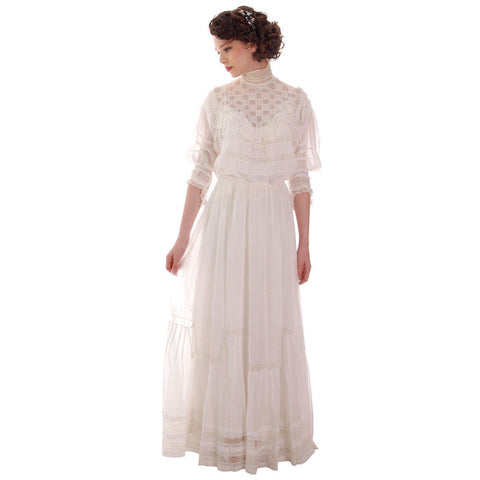Victorian White Lawn  Lace Fancy Ladies Summer/Wedding  Dress 34-20-Free