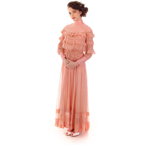 Vintage Antique Pink Cotton 2 PC Dress Antique Gown 1905-1912 Titanic Era Small