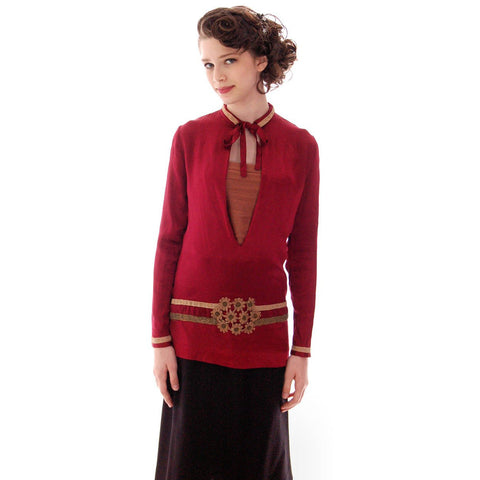 "Vintage Blouse 1920s Claret Satin Dropped Waist Flapper Style 32"" Bust Small"