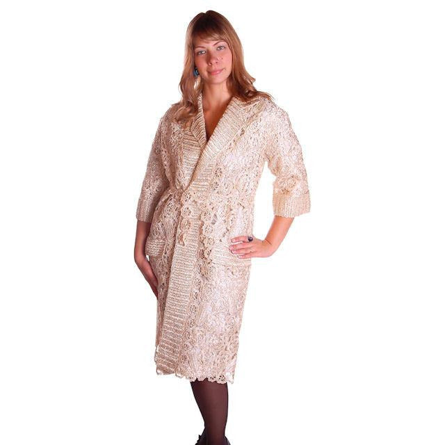 Vintage Italian Crocheted Straw Coat 1950S Cream Color Unique M-L Paoli - The Best Vintage Clothing  - 1