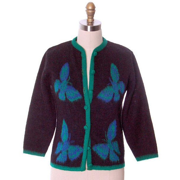 Vintage Ladies Cardigan Sweater Wool/Mohair Fab Blue Butterfly Motif 1960s Med - The Best Vintage Clothing  - 1
