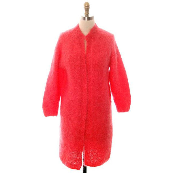 Vintage Ladies Mohair Sweater Coat Perfect Coral Easy To Wear Handknit 1960s 40 Bust - The Best Vintage Clothing  - 1