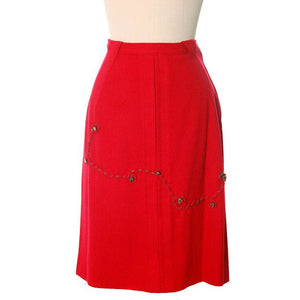 "Hot Lipstick Red Vintage Pencil Skirt  Wool w Passementerie Braid On Front 1950s Waist 29"" - The Best Vintage Clothing  - 1"