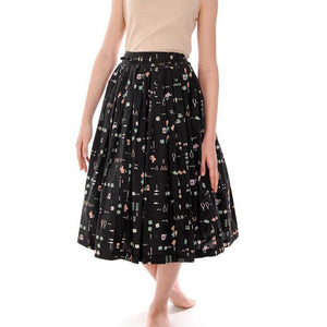 "Vintage Pleated Cotton "" Lucky"" Skirt 1950s Black w/Print Small - The Best Vintage Clothing  - 1"