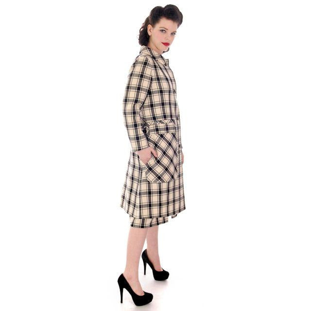 Vintage Suit Sybil Connolly Dublin Black White Huge Plaid Pockets 1960s 38