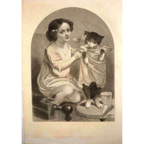 "Antique ""Pretty Pussy"" Cat & Girl Hand Drawn Lithograph"