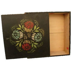 Antique Black / Red & Green  Folk Art Tole Handpainted Painted Wooden Box Primitive - The Best Vintage Clothing  - 2