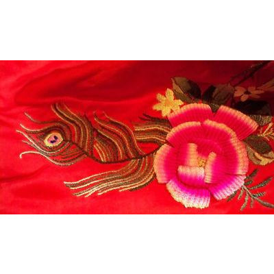 Antique Chinese Robe Part Red Silk Embroidered Wedding Apron
