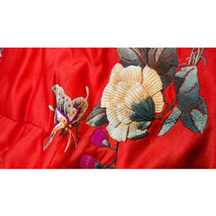 Antique Chinese Robe Part Red Silk Embroidered Wedding Apron - The Best Vintage Clothing  - 4