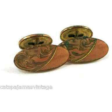 Antique Cuff Links Mens Gold Plated Etched 7/8 - The Best Vintage Clothing  - 1