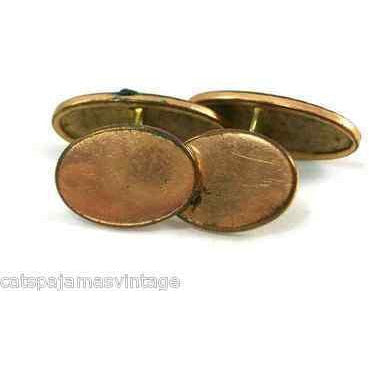 Antique Cuff Links Mens Gold Plated Etched 7/8 - The Best Vintage Clothing  - 2