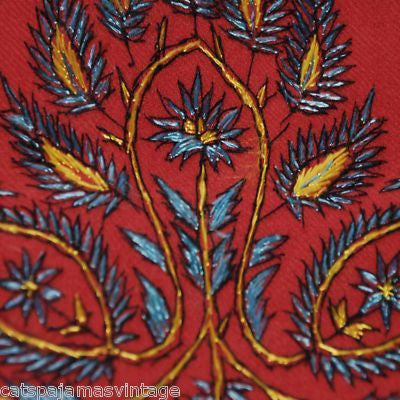 Antique Embroidered Linsey-Woolsey Red Shawl 1860S
