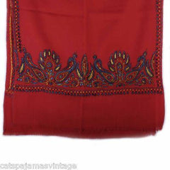 Antique Embroidered Linsey-Woolsey Red Shawl 1860S - The Best Vintage Clothing  - 4