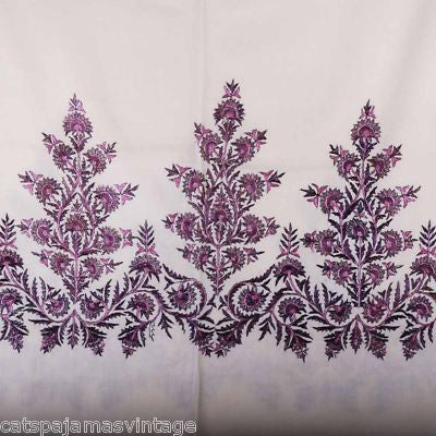 Antique Hand Embroidered Purple & White Paisley Shawl 1860S