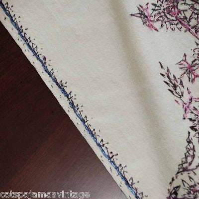 Antique Hand Embroidered Purple & White Paisley Shawl 1860S - The Best Vintage Clothing  - 3