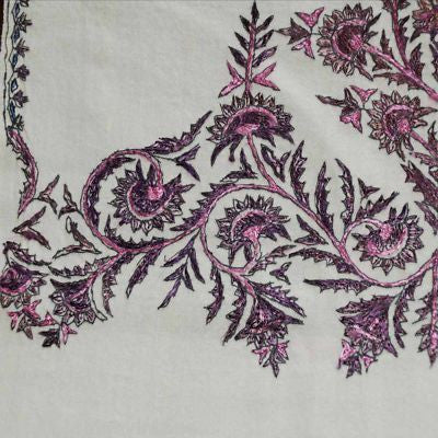 Antique Hand Embroidered Purple & White Paisley Shawl 1860S - The Best Vintage Clothing  - 4