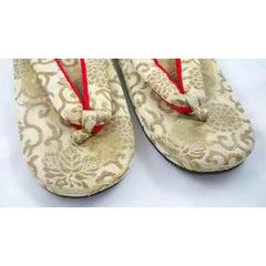 Antique Japanese Thong Shoes Gold Damask Mens Womens Esso Oil Company - The Best Vintage Clothing  - 3