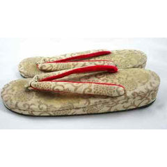 Antique Japanese Thong Shoes Gold Damask Mens Womens Esso Oil Company - The Best Vintage Clothing  - 2