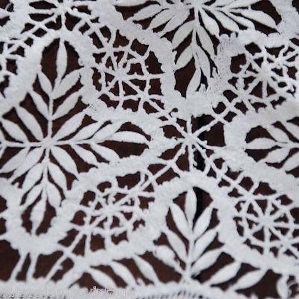 Antique Linen Round Tablecloth Handmade Cluny Bobbin Lace & Whitework Provenance 38""
