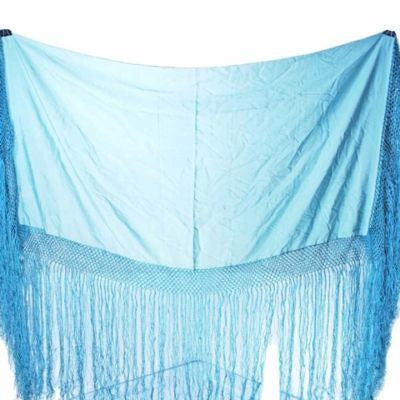Antique Pale Aqua Silk Shawl Fringe 1920S - The Best Vintage Clothing  - 1