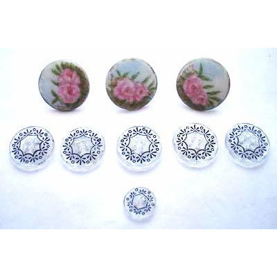 Antique Victorian Buttons 9 Glass & Hand Painted Porcelain Button Studs With Roses - The Best Vintage Clothing  - 1