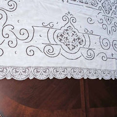 Antique White Linen Cutwork Embroidered  Swiss Appenzell Tablecloth Esso Oil Provenance - The Best Vintage Clothing  - 6