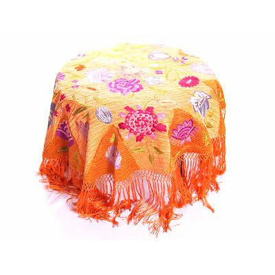 Arts & Crafts Embroidered Silk Tablecover Long Fringe Orange Purples Blue - The Best Vintage Clothing  - 1