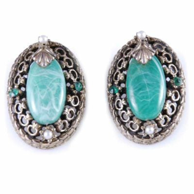 "Vintage Brass tone Filigree ""Jade"" Clip-On Earrings 1940'S"
