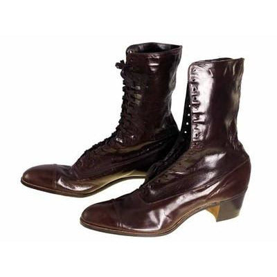 Brown Leather Kid Victorian Lady High Top Lace Boots NIB Walk Over Sz 6.5N EU37