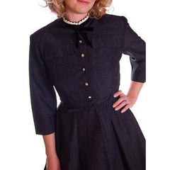Charcoal Vintage Day Dress With Jacket Rhinestone Buttons 1950 36-29-Free - The Best Vintage Clothing  - 2
