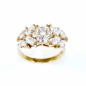 Gold Electroplate Cubic Zirconium Ladies Cocktail Ring Size 8 - The Best Vintage Clothing