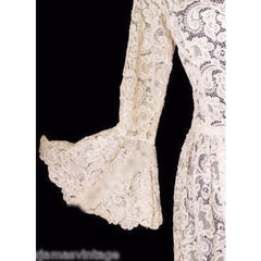 Exceptional Vintage Ivory Venetian Point Lace  Gown Provenance 36-28-Free - The Best Vintage Clothing  - 2